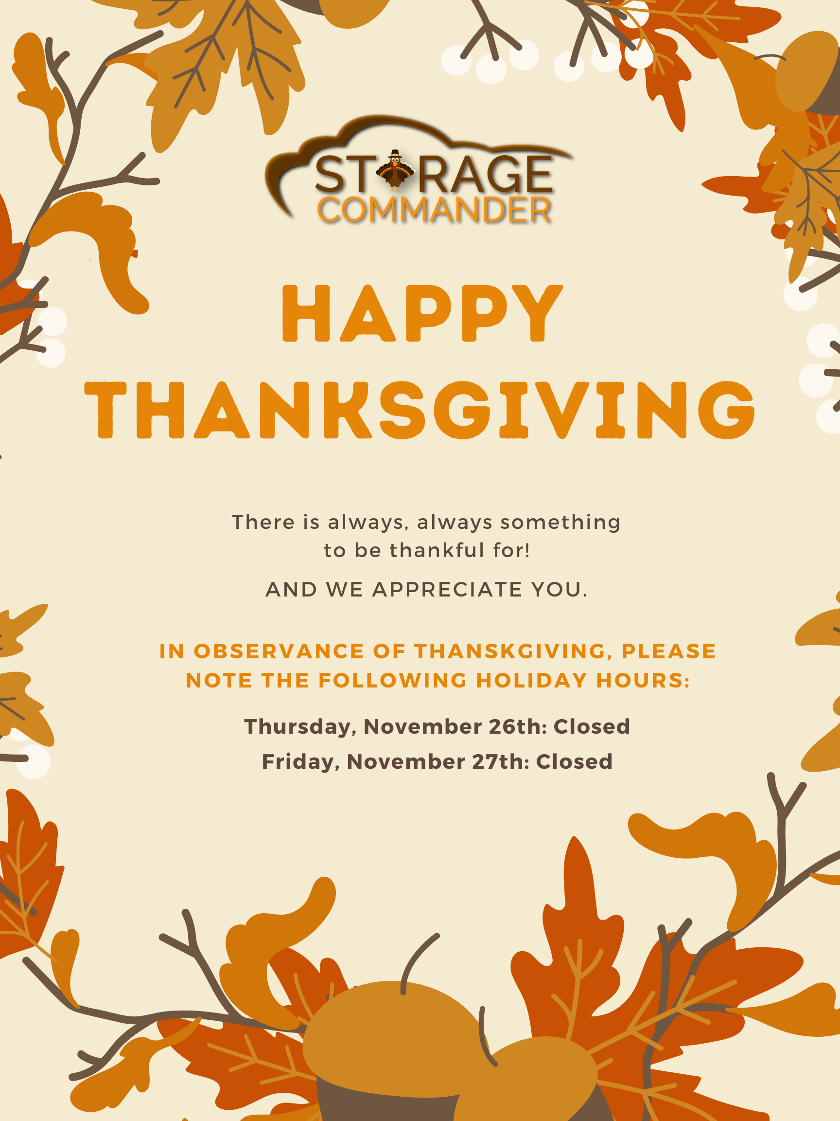Happy Thanksgiving in Self Storage